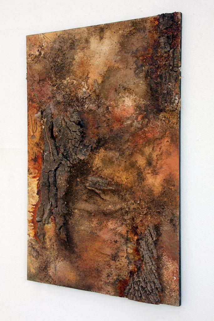 abstrakte Malerei Baumrinde Naturmaterialien Kunst Naturtöne zeitgenössische Kunst künstler strukturmalerei Strukturbilder resp. Rebecca Speth